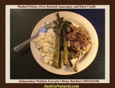 Duck Confit, Oven Baked Asparagus With Double Smoked Cheese, And Mashed Potato